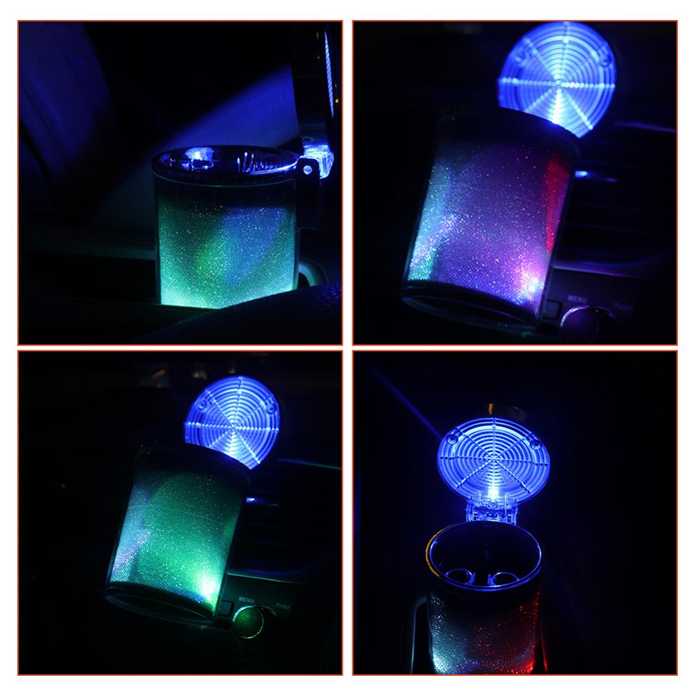 OLOMM Car Ashtray LED Light Cigarette Cigar Ash Tray Container Smoke Ash Cylinder Smoke Cup Holder Storage Cup Auto Accessories