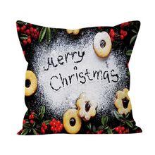 Christmas Style Decorative Pillow Case Snowflake Letter Pattern Xmas Short Hair Velvet Cover x
