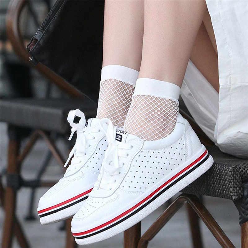 1 paar Streetwear vrouwen Harajuku witte Kleur Ademend Visnet Sokken Sexy Hollow out Netten Sokken Dames Zoete Mesh Sox