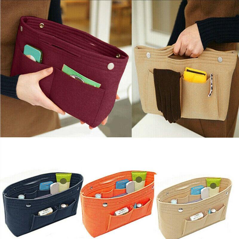 New Large Diameter Women's Organizer Handbag Felt Bag Purse Organiser Pouch
