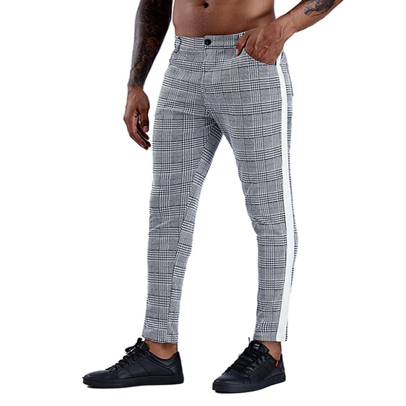 Casual Mens Chinos Cotton Slim Fit Men Pants Trousers Skinny Chinos Pants Grey Ankle Length Streetwear Plaid Side Stripe Pants