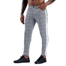 Pantalones informales ajustados de algodón para hombre, pantalón chino, gris, hasta el tobillo, a cuadros, de rayas laterales