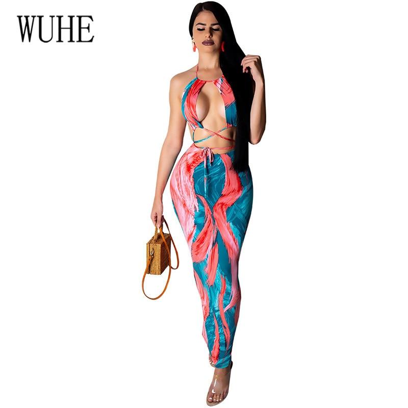 WUHE Sexy Open Back Sleeveless Vintage Print Boho Dress Women Beach Maxi Summer Vestidos Elegant Long Halter Dresses
