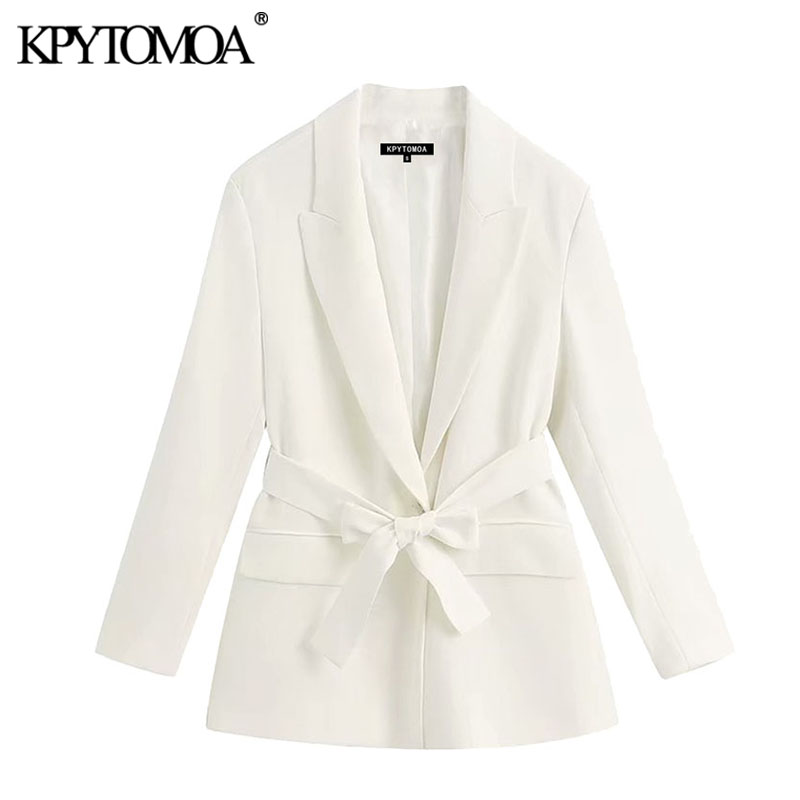 KPYTOMOA Women 2020 Fashion Office Wear With Belt Blazer Coat Vintage Long Sleeve Pockets Female Outerwear Chic Tops