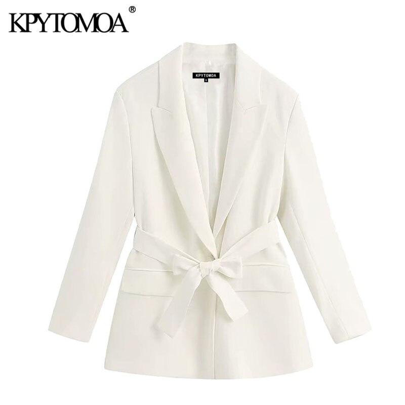 KPYTOMOA Women 2020 Fashion Office Wear With Belt Blazer Coat Vintage Long Sleeve Pockets Female Outerwear Chic Tops