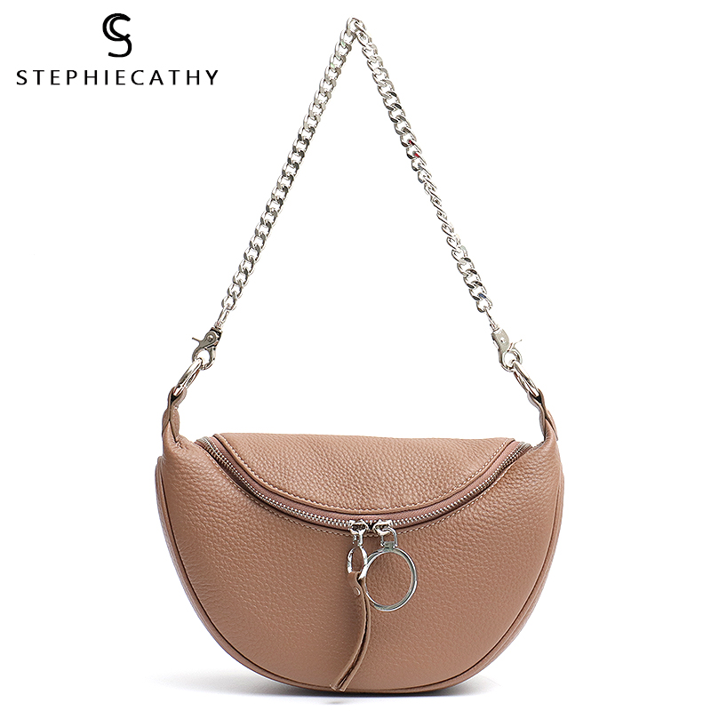 SC Luxury Chain Shoulder Messenger Bags Women Real Leather Handbag Ladies Fashion Small Shell Bag Messenger Female Crossbody Sac