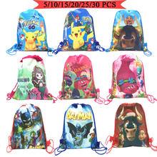 5 pçs de alta qualidade disney carros sereia/princesa/batmen tema drawstring bags criança algodão bolsa viagem armazenamento roupas sapatos sacos