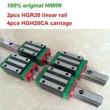 100% original HIWIN 2pcs HGR20 200mm 300mm 400mm 500mm 600mm 700mm 800mm 1000mm Linear Guide rail + 4pcs HGH20CA HIWIN Carriage