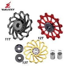 2 pezzi WUZEI MTB Road Bike puleggia in ceramica 7005 deragliatore posteriore in lega di alluminio 11T 12T 13T ruota guida cuscinetto in ceramica ruota fantino