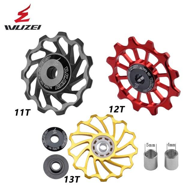 WUZEI polea de cerámica para bicicleta de carretera rodamiento de rueda de cerámica Jockey, aleación trasera de aluminio 7005, desviador 11T 12T 13T, 2 uds.