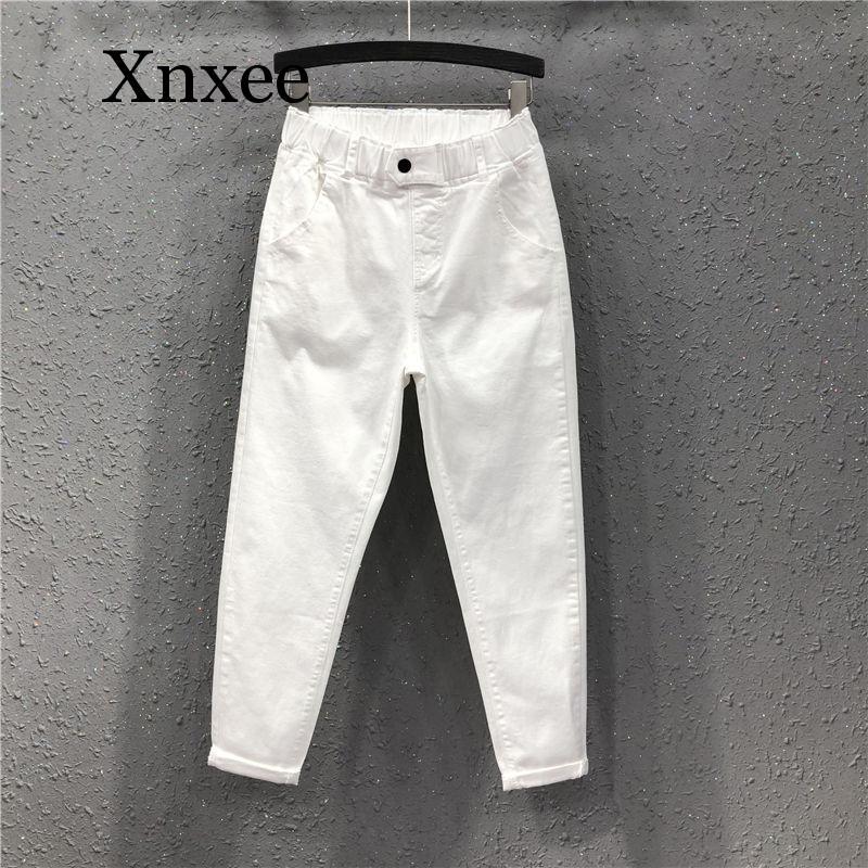 Ankle-length New Summer Women Harem Pants All-matched Casual Cotton Denim Pants Elastic Waist Plus Size 5xl Oversize Jeans