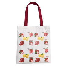 KANDRA 2019 Women Cute Strawberry Print Canvas Tote Bag for Daily Shopping Shoulder Summer New Zipper Pouch Travel