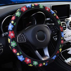 Universal Car Flowers Print Steering Wheel Covers Print Anti-slip Soft Styling Elastic Auto Decoration Interior Accessories