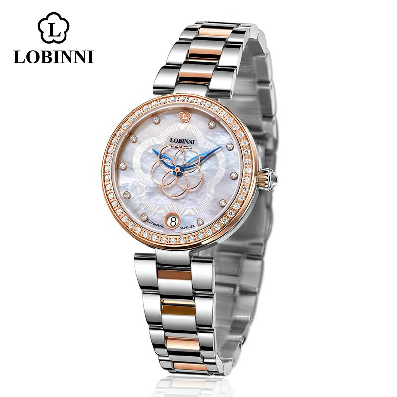 LOBINNI Mechanical Women Watch Fashion Switzerland Luxury Brand Ladies Wrist Watch Automatic Original Design Montre Femme 2020