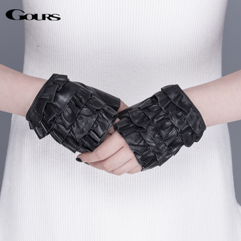 Gours Spring Winter Genuine Leather Gloves Women Unlined Black Fashion Goatskin Driving Fingerless Gloves New Arrival GSL062