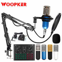 Bm 800-Kit de grabación de estudio con micrófono, condensador bm800 para ordenador, Phantom Power, Karaoke, tarjeta de sonido Bluetooth