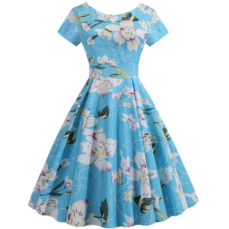 Summer Floral Print Elegant A-line Party Dress Women Slim White Short Sleeve Swing Pin up Vintage Dresses Plus Size Robe Femme 101
