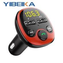 YIBEIKKA FM משדר מודולטור אלחוטי Bluetooth דיבורית לרכב MP3 נגן מהיר טעינה