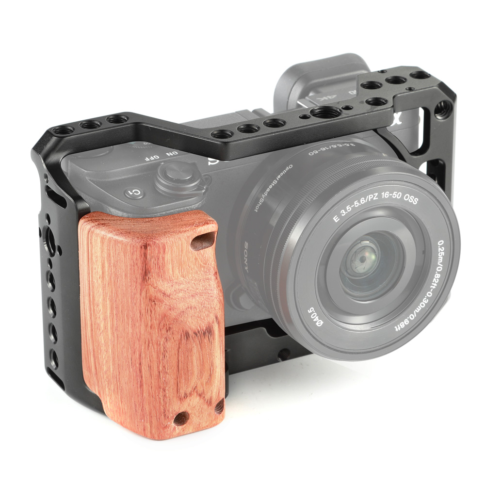 SmallRig A6400 Camera Cage Kit For Sony A6300 / A6400 / A6500 Camera With Wooden Handle Grip 1/4 3/8 Thread Hole For DIY Options