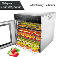 12 layers Food dehydrator Commercial/home dual use food dryer Stainless steel fruit vegetable drying machine 220V/50HZ 1000W 1PC
