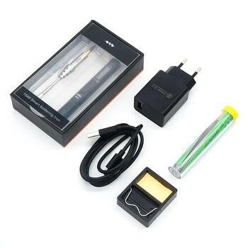 TS80 Mini principal inteligente Digital portátil herramienta de pistola para soldar temperatura ajustable pantalla OLED con B02 de hierro consejos para TS100/80