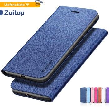 Перейти на Алиэкспресс и купить Чехол для телефона из искусственной кожи с деревянным лицевым покрытием для Ulefone Note 7P, флип-кейс для Ulefone Note 7P, деловой чехол-кошелек, Мягкая с...