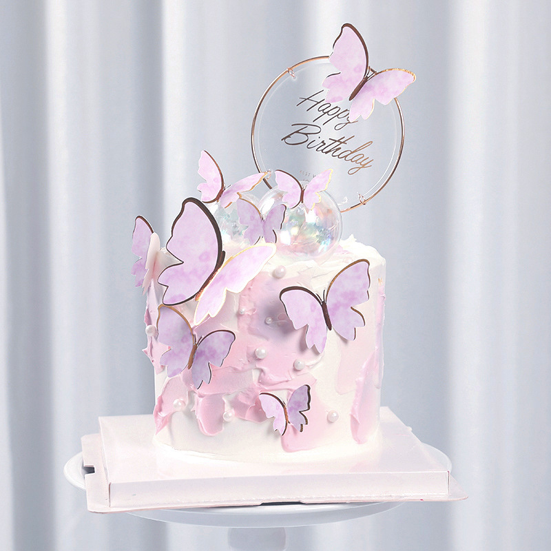 Purple Pink Butterfly Cake Decoration Happy Birthday Cake Topper Handmade Painted For Wedding Birthday Party Baby Shower