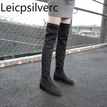 Женские сапоги новые зимние модные женские сапоги выше колена на низком каблуке, с круглым носком, на шнуровке, большие размеры 30-49, высота каблука 4 см