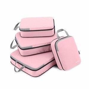 Gonex 4 шт./компл., Дорожный чемодан, органайзер для багажа, подвесной пакет для хранения на молнии, сумка, одежда, компрессионная упаковка, куби...
