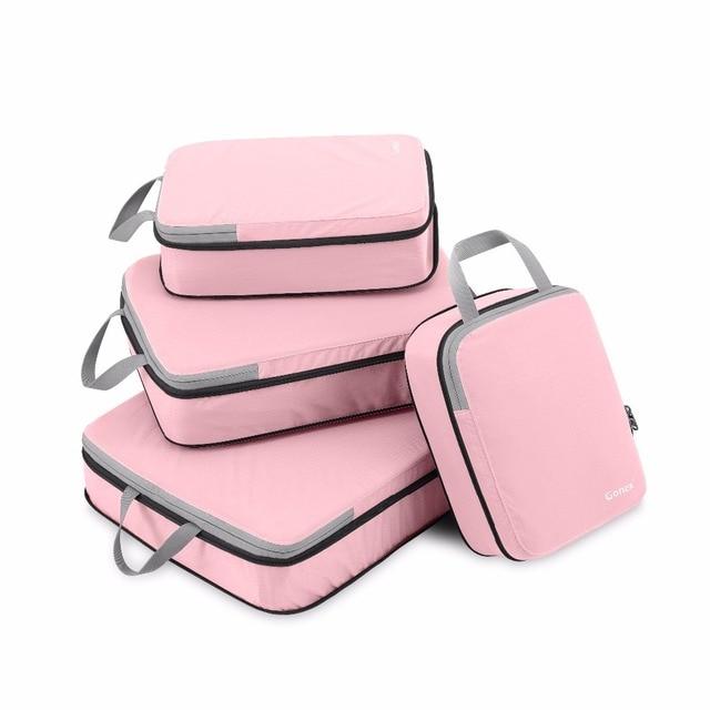 Gonex 4 ชิ้น/เซ็ตกระเป๋าเดินทางOrganizerแขวนZiplockกระเป๋าเสื้อผ้าการบีบอัดก้อนบรรจุสาวของขวัญเพื่อน