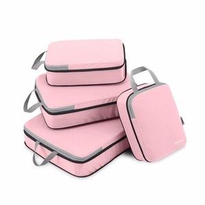 Gonex 4pcs/set Travel Suitcase Luggage Organizer Hanging Ziplock Storage Bag Clothing Compression Packing Cubes Girl Friend Gift(China)