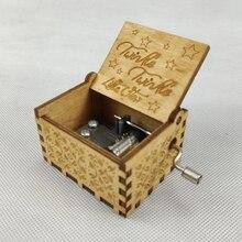 Caja de madera envejecida tallada caja de música de manivela de madera grabada diseño de Reina Bohemia Rhapsody para chico y Niña niños