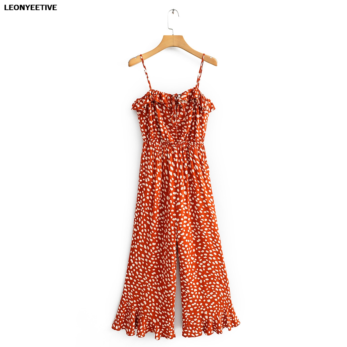 2020 New Fation Brand Rompers Jumpsuits Ankle-length Pants Print Bohemian Polyester Broadcloth Leonyeetive Regular