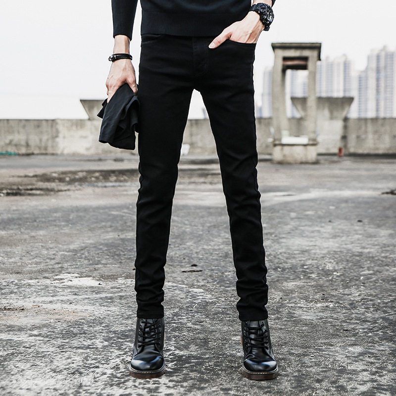 Men's Autumn & Winter New Style Jeans Casual Tight Type Daily Life Skinny Youth Students Trend MEN'S Trousers