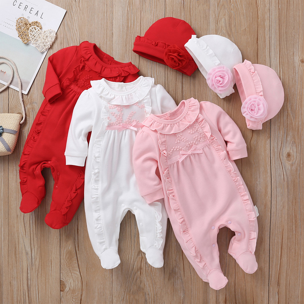 Winter Newborn baby girl clothes 5 5 months Newborn Infant Baby Girls Solid  Ruffles Floral Romper Jumpsuit+Hat Outfits Sets