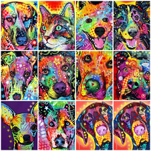 AZQSD Diamond Painting Dog Animal Rhinestones Full Square Embroidery Colorful Mosaic Gift Home Decor