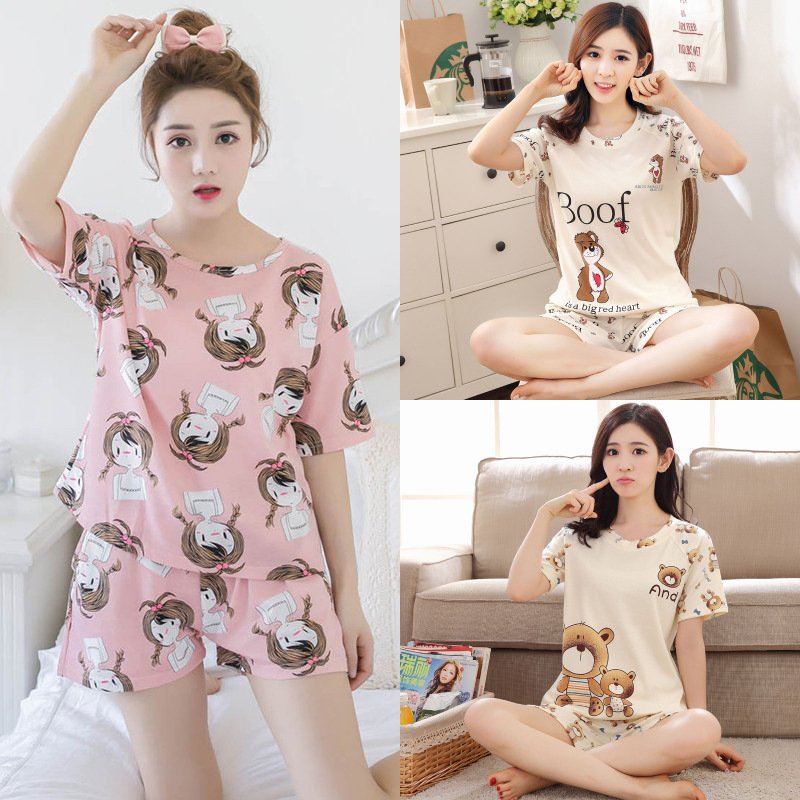 Two-Piece Pajamas Women's Summer Short Sleeve T-shirt Shorts Cartoon Casual Homewear Set Spread The Net Supply Of Goods