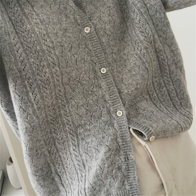 Ailegogo New 2020 Autumn Winter Women's Sweaters Korean Style Button Cardigan casual Hollow out Knitted Cardigans SWC1750 4