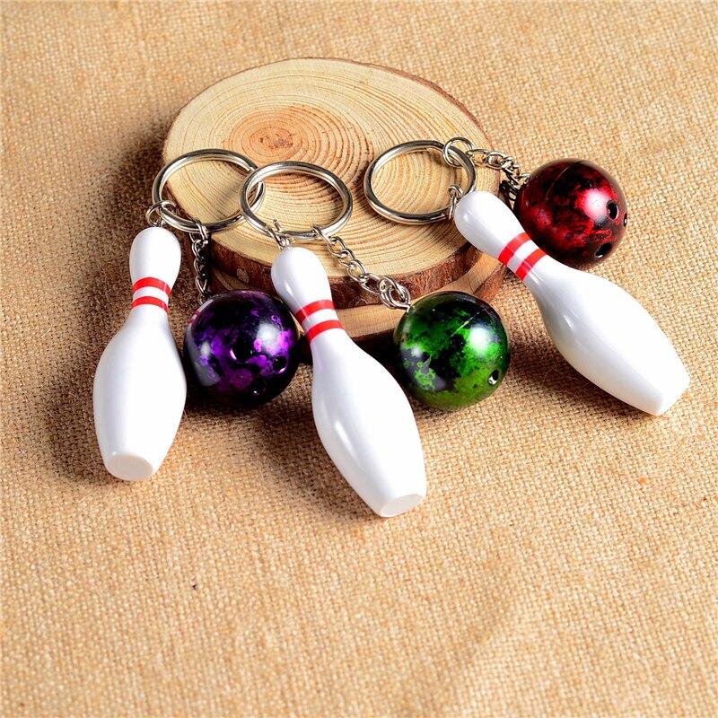 Cute Bowling Shaped Keychain Unisex Key Ring Pendant Alloy Buckle Car Key Holder Bag Pendant Ornaments Gift High Quality