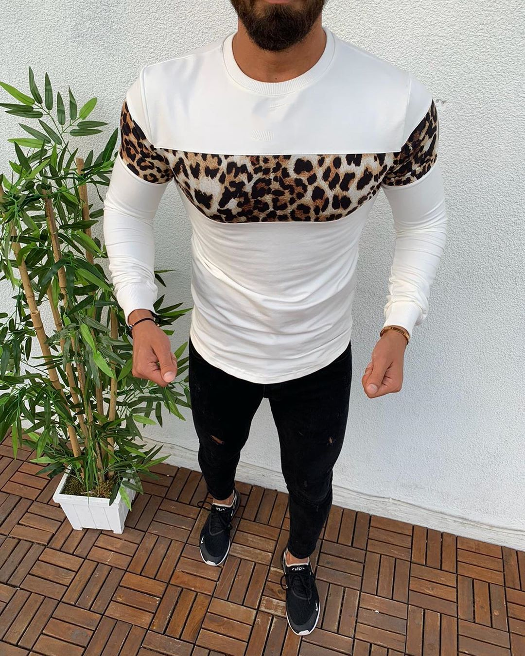 Men Autumn Winter Warm Pullover Leopard Sports Sweatshirt Long Sleeve Sweater Pullover
