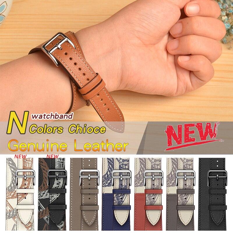 Kebitt en cuir véritable double tour bandes pour apple watch série 5 4 3 2 1 iwatch bande 38 40MM 42 44mm bracelet hommes femmes ceinture