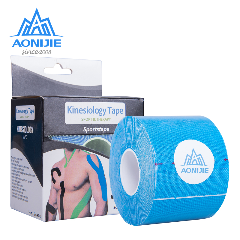 AONIJIE Elastic Kinesiology Sport Bandage 5m*5cm Tape Roll Sports Physio Muscle Protective Strain Injury Support Gym E4112