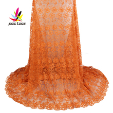 New Fashion Pure Orange Color Much Beads Tulle Lace Fabric Nigerian Handmade Embroidered For Wedding AMY1869B