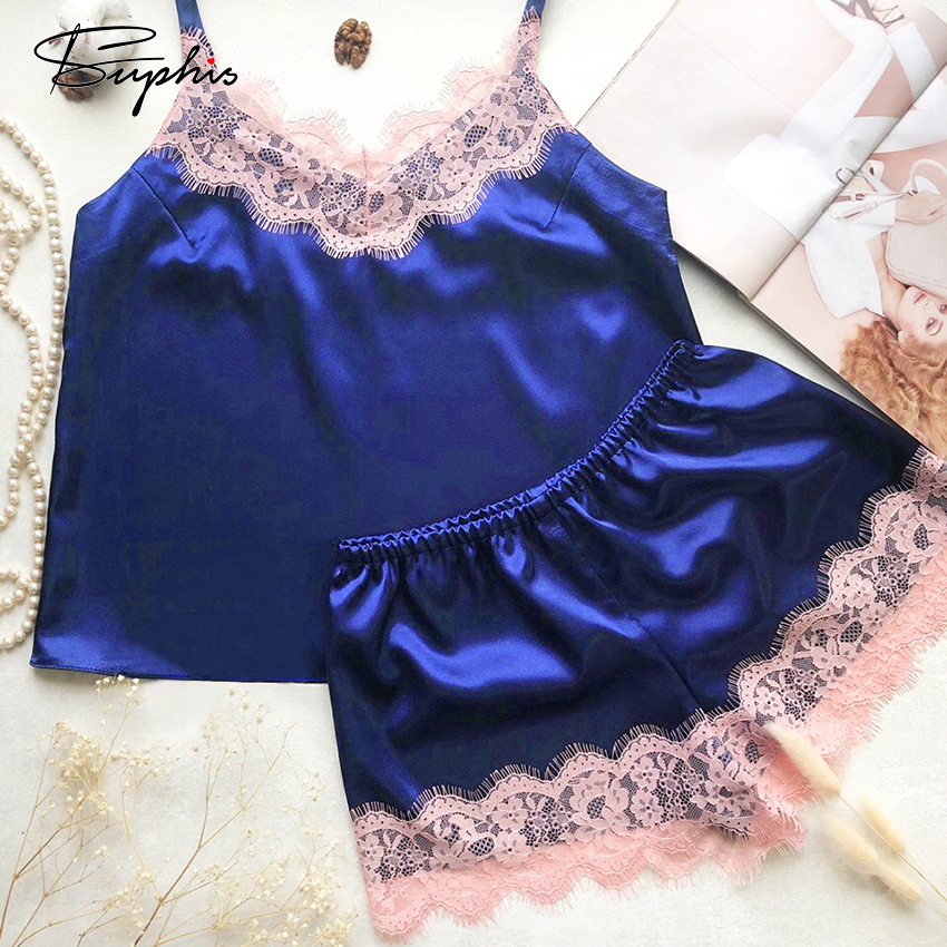 Suphis Sexy Lingerie Silk Pajamas Top And Shorts Set Women Pyjamas Clothes For Home Suit Casual Lace Satin Sleepwear Ladies 2020