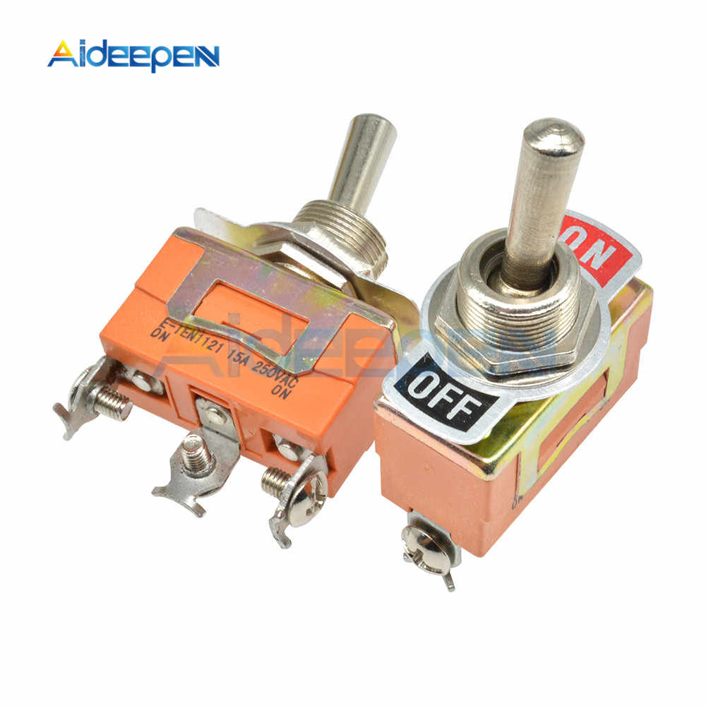 E-TEN1121 3 Pin 3 Terminal Toggle Switch On-Off 2 Posisi 3 Pin 250V 15A AC Mini Atur switch Tahan Air Cap