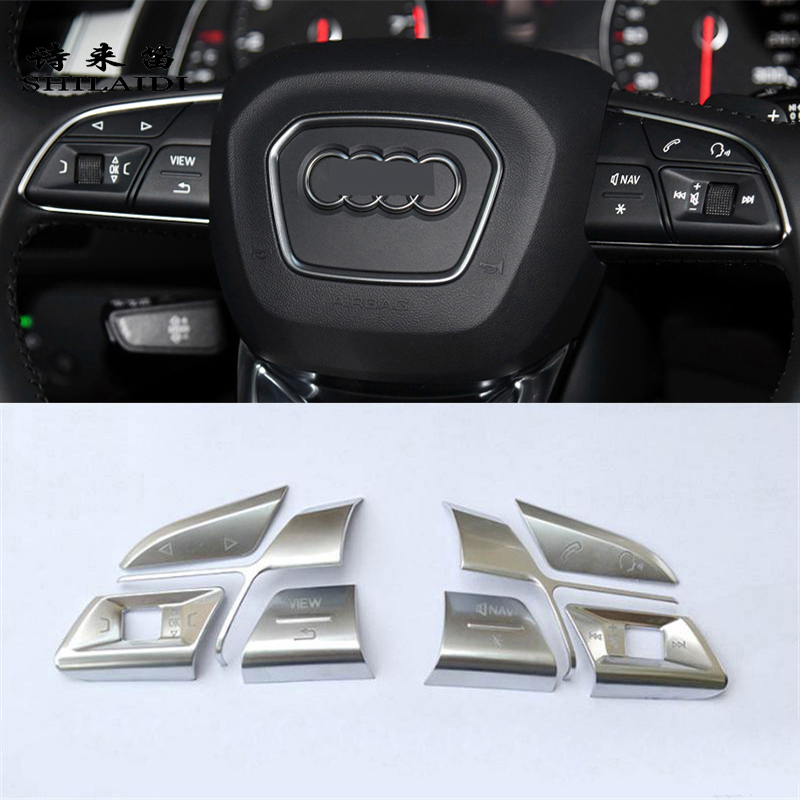 Car styling steering wheel buttons frame decoration Covers stickers for Audi Q3 Q5 A1 A3 8V A4 B9 B8 A5 A7 A6 C8 Q7 Accessories image