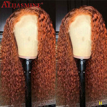Brazilian Curly Ginger Wig Orange Colored Human Hair Wigs 13x6 Lace Front Human Hair Wigs For Women Remy(China)