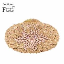 Boutique De FGGแชมเปญสีพีชคริสตัลกระเป๋ากระเป๋าสตางค์โลหะHardcaseงานแต่งงานMinaudiereกระเป๋าถือคลัทช์