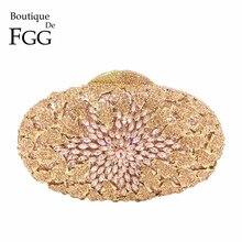 Butik De FGG szampański kolor brzoskwiniowy kobiety kryształowe torebki torebka wieczorowa metalowa Hardcase wesele Minaudiere torebka sprzęgło