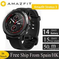 En Stock versión global Amazfit Stratos 3 reloj inteligente GPS 5ATM Bluetooth música modo Dual 14 días batería para smartwatch para Xiaomi